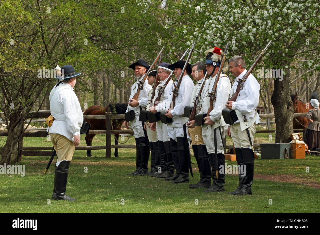 A re-enactment of the American Revolution's Continental Army drilling in Jockey Hollow - Morristown National - Stock Image