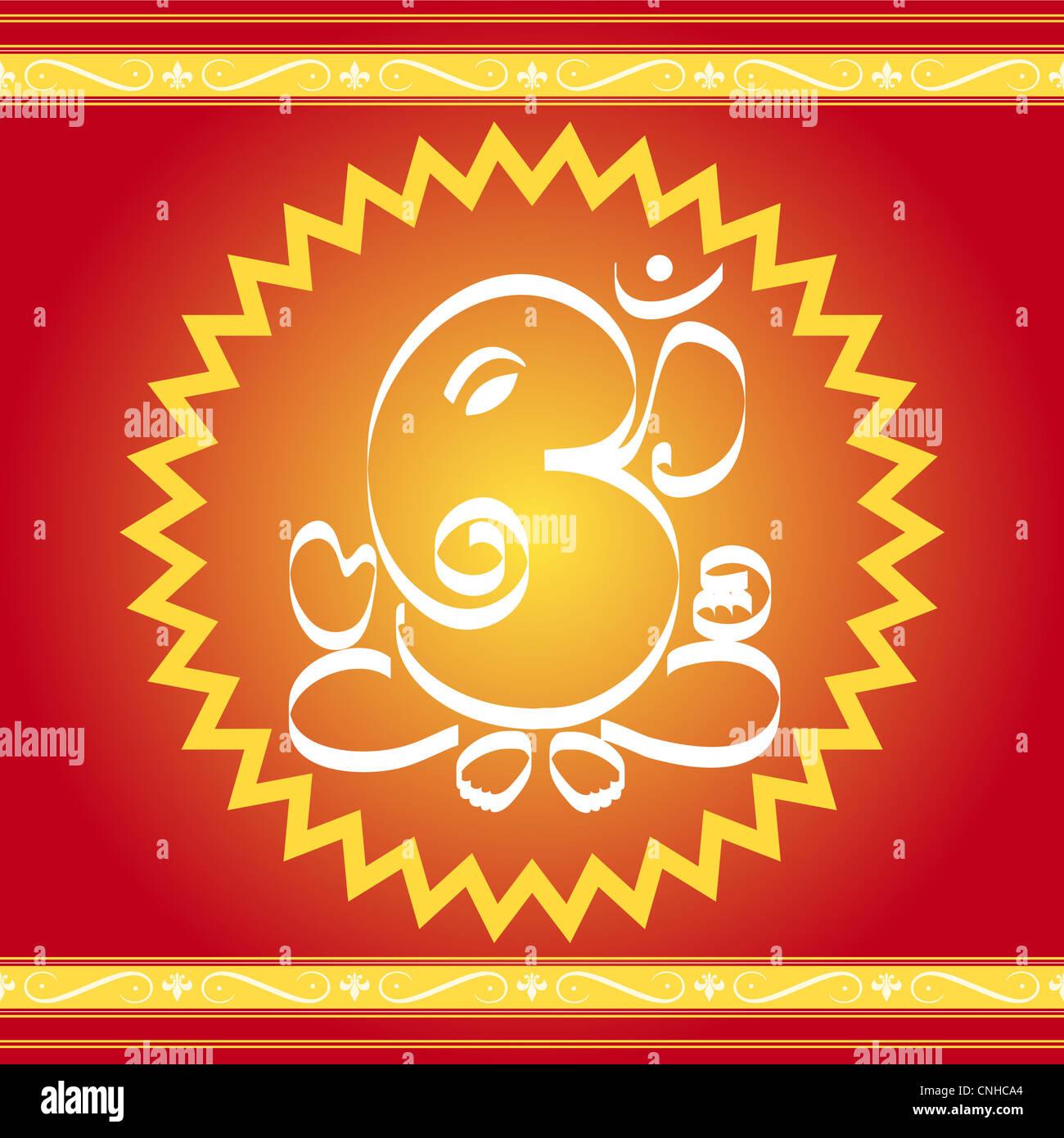 Hindu God Ganesha with artistic frame Stock Photo