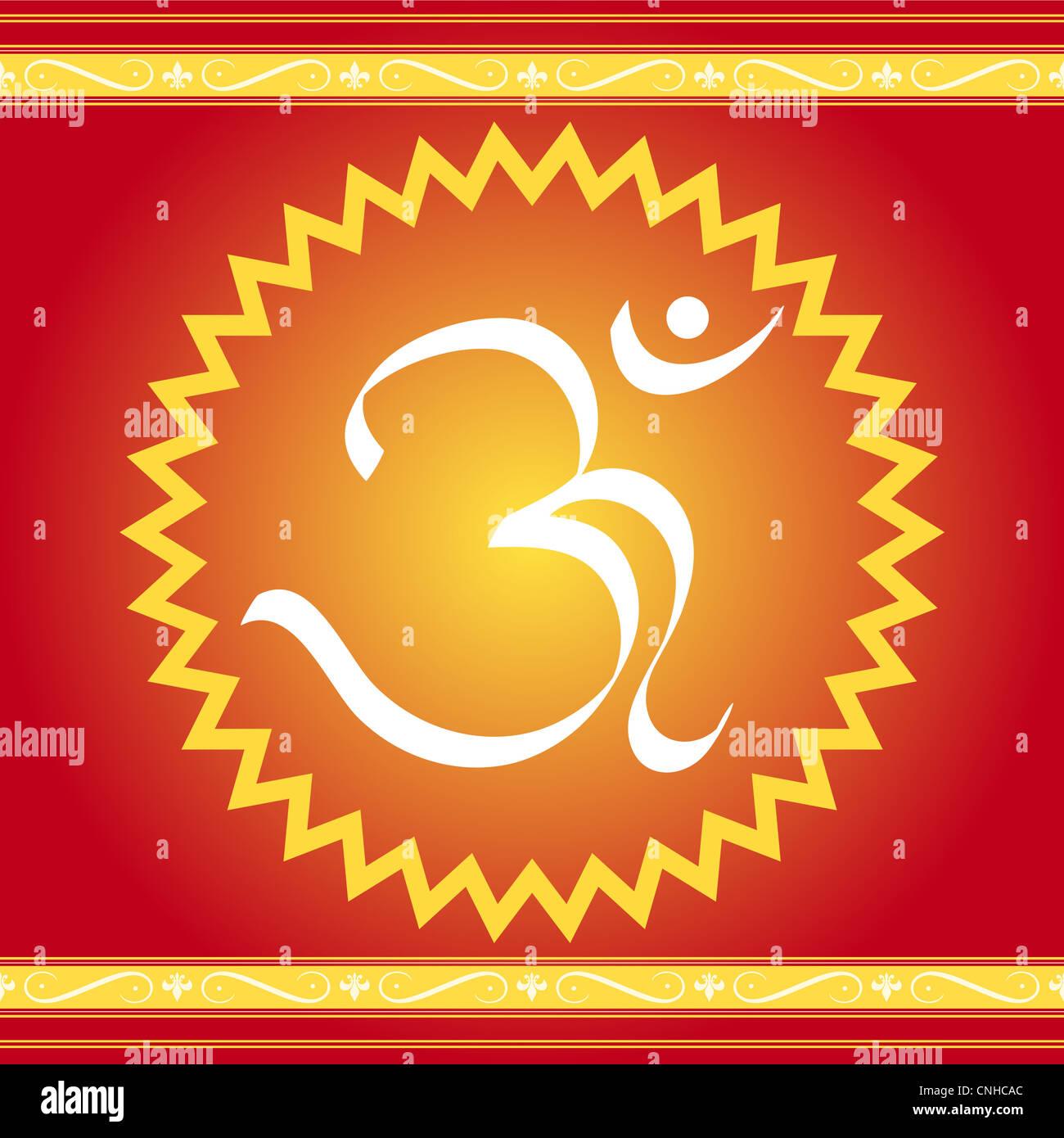 Divine OM symbol with artistic frame - Stock Image