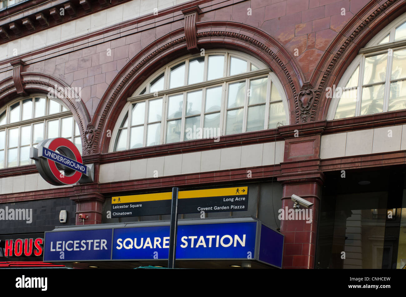Leicester Square Tube station sign,  Cranbourne street London Uk - Stock Image