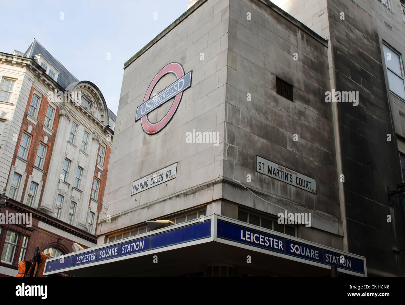 Leicester Square Tube station sign, corner Cranbourne street & Charing Cross Road, London Uk - Stock Image