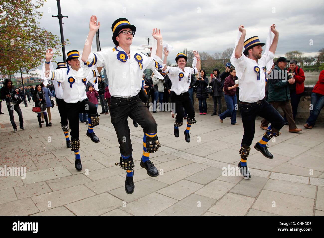 Hammersmith Morris Men dancers, doing traditional Morris Dancing - Stock Image