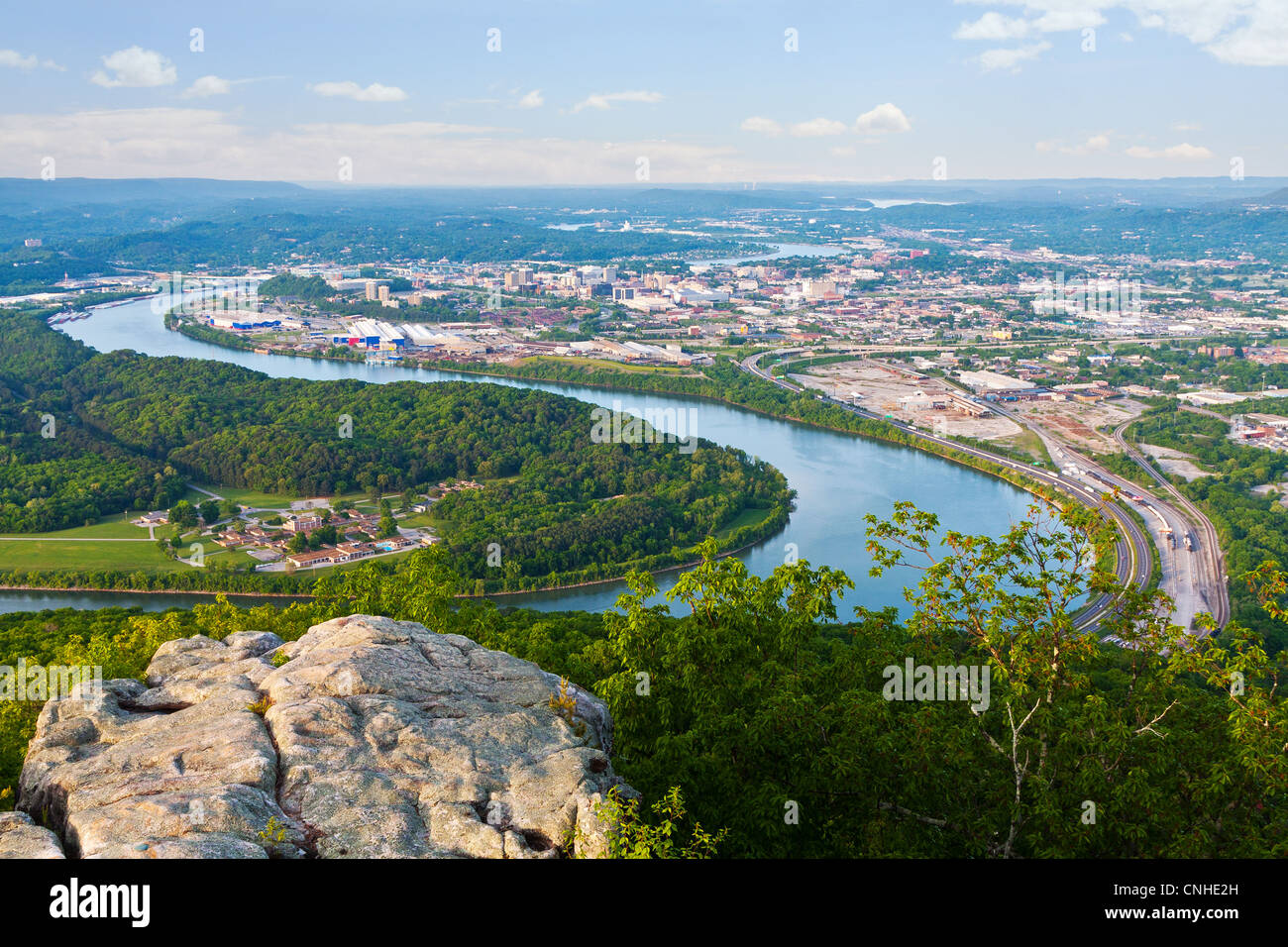 View of Chattanooga, Tennessee from Lookout Mountain - Stock Image
