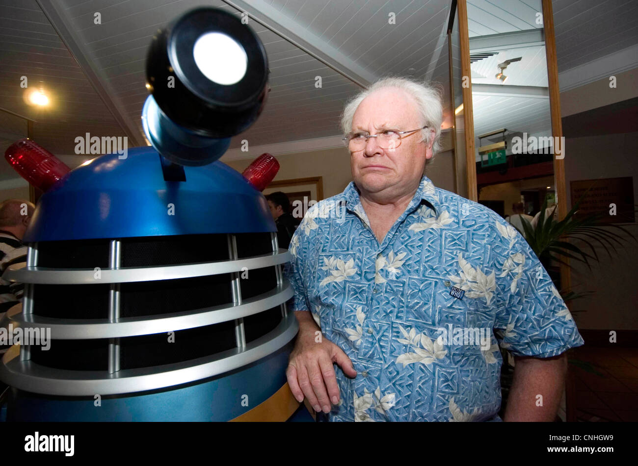 Colin Baker, the actor who played the sixth incarnation of Dr Who is reunited with his old enemy - the daleks. - Stock Image