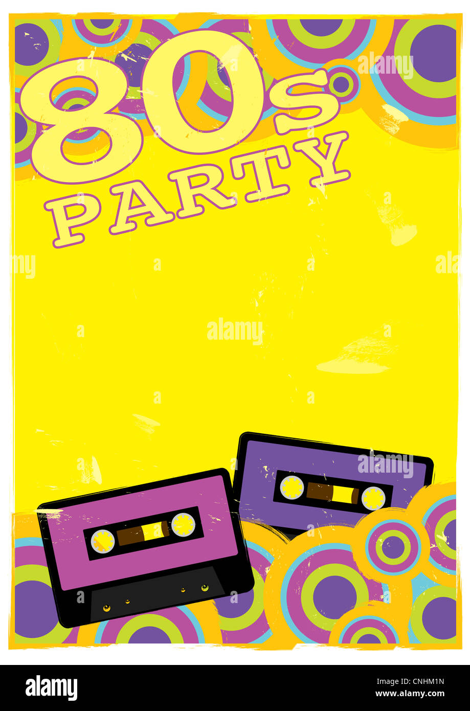 Retro Poster - 80s Party Flyer With Audio Cassette Tape - Stock Image