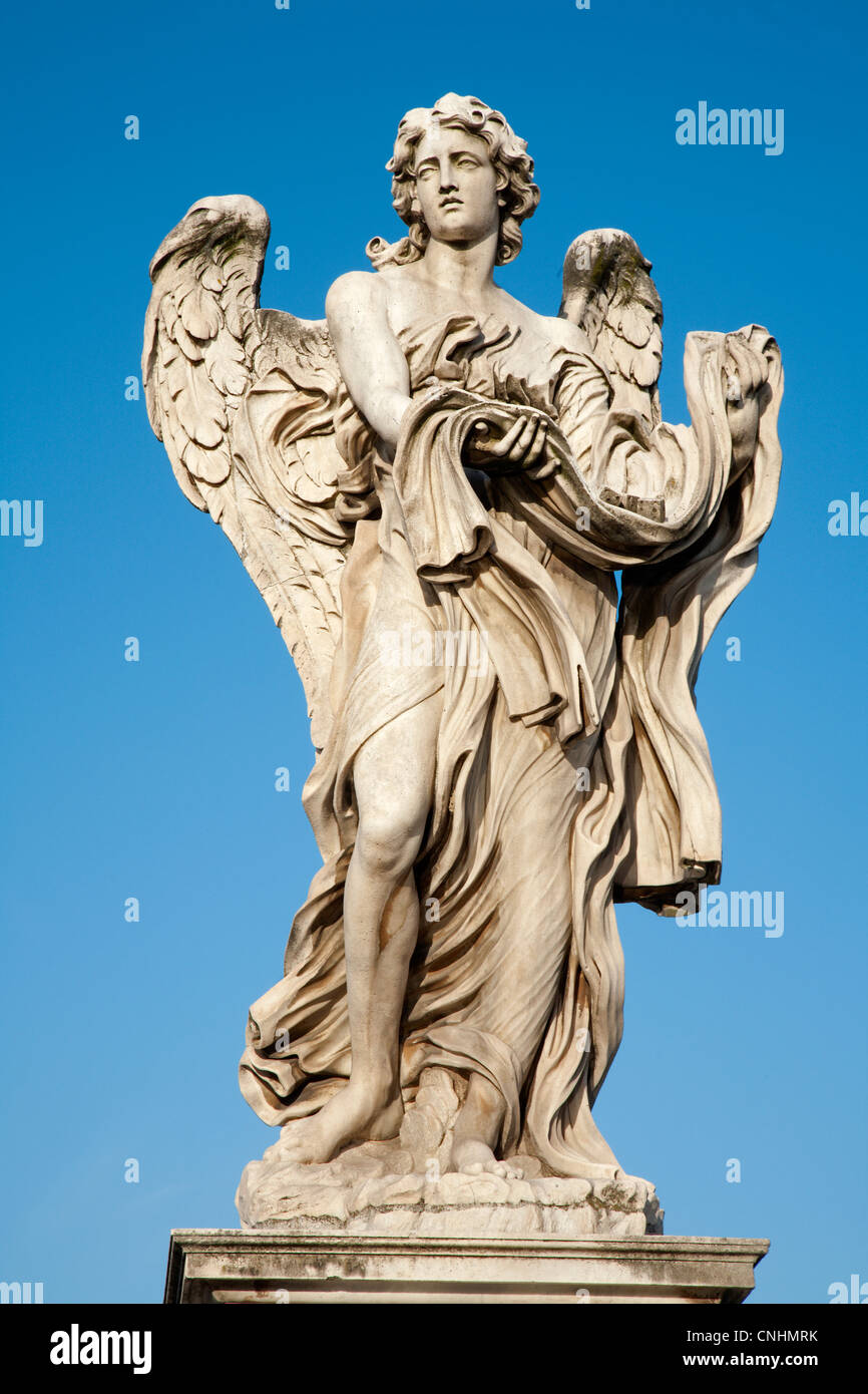 Rome - Angel with garment and dice - Stock Image