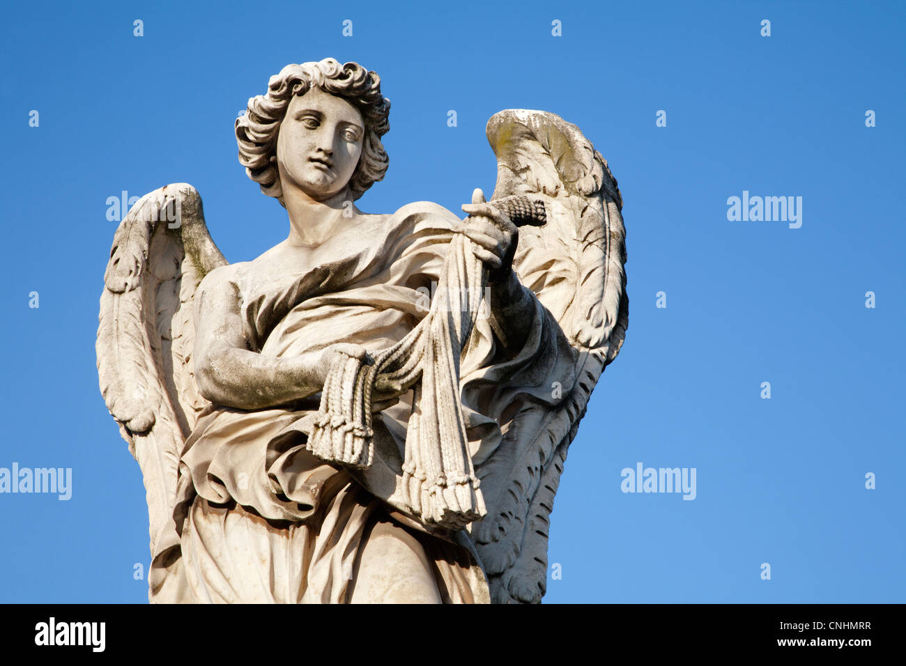 Rom - Angel with the whips - Ponte Sant'Angelo - Angels bridge - designed by Bernini - Stock Image