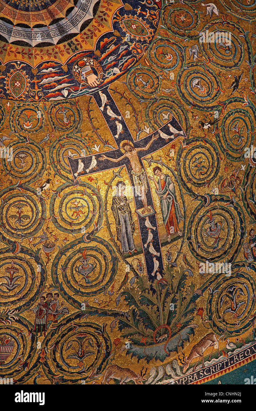 Rome - mosaic of Jesus on the cross from San Clemente church Stock Photo