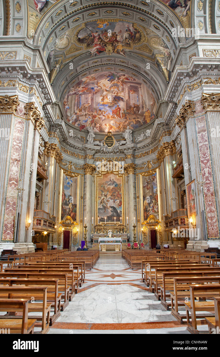Rome - interior - main altar of San Ignacio church - Stock Image