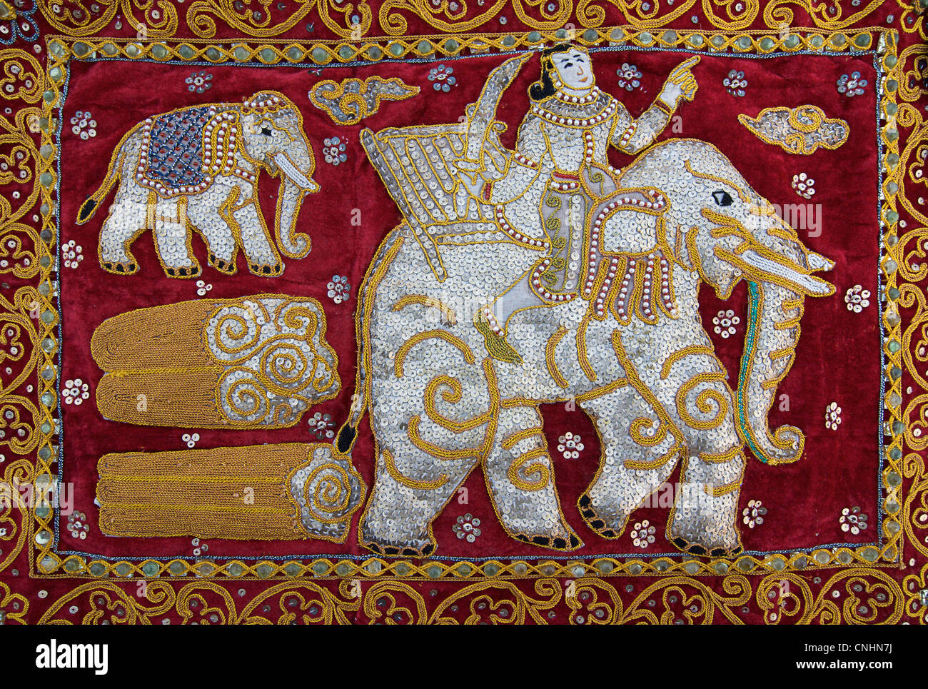 Elaborately decorated textiles called kalaga were traditionally used as coffin covers. old throughout Thailand & - Stock Image
