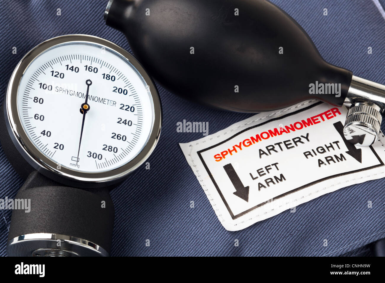Photo of a Sphygmomanometer, the medical tool used to measure blood pressure. - Stock Image