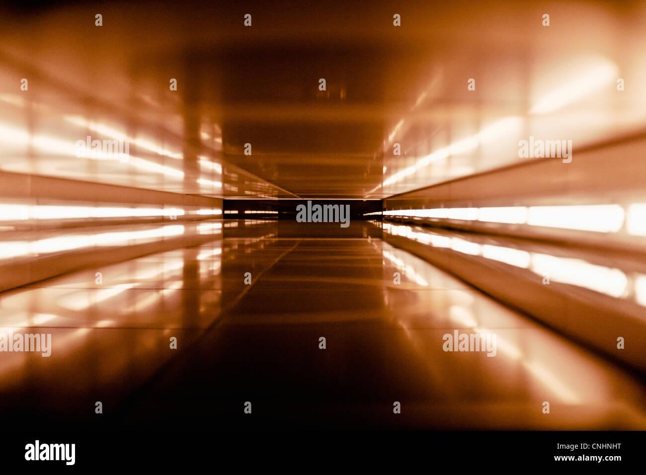 An abstract corridor in brown tones - Stock Image