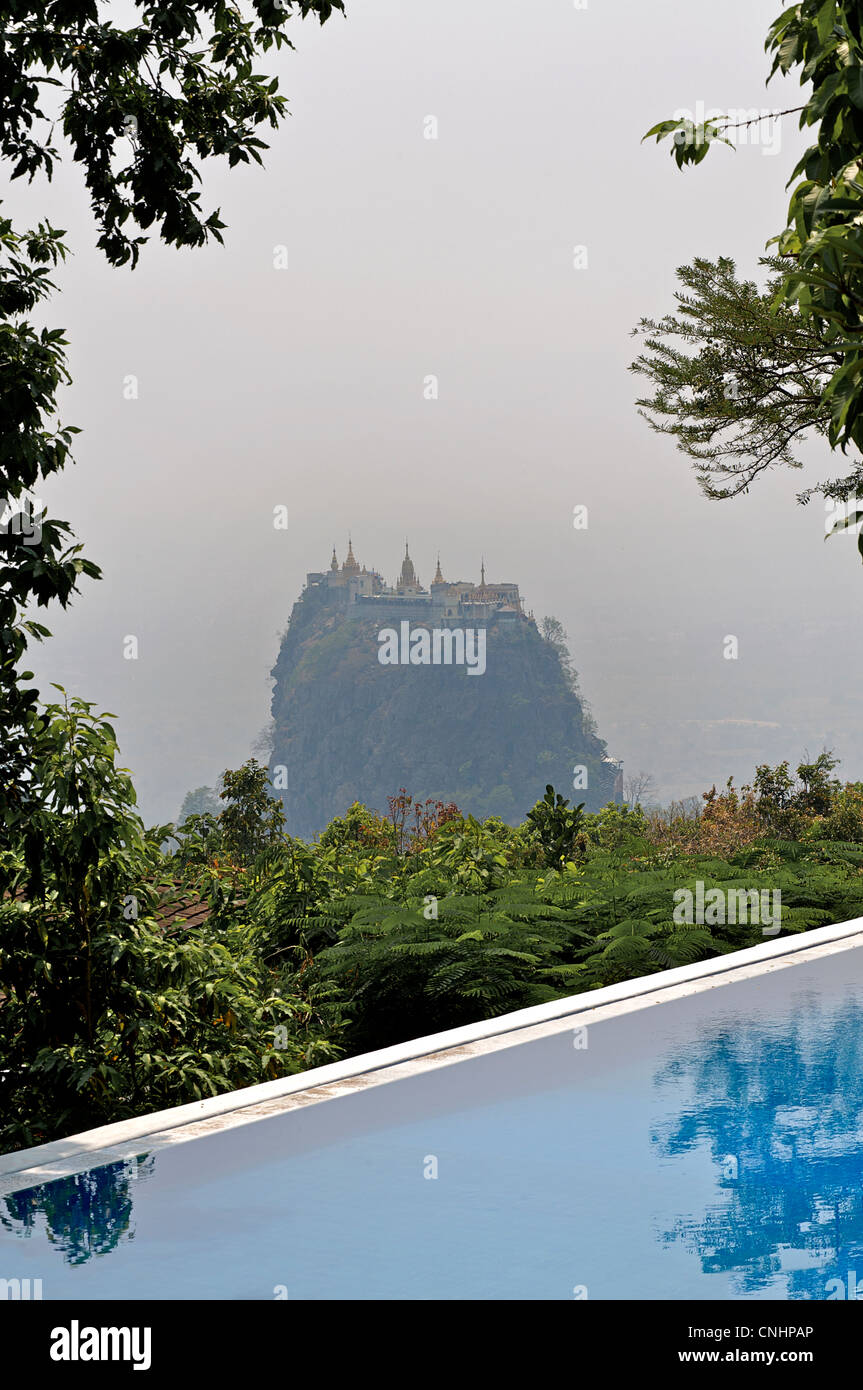 Mount Popa viewed from Popa Mountain Resort, Kyaukpadaung Township, Near Bagan, Burma. Myanmar - Stock Image