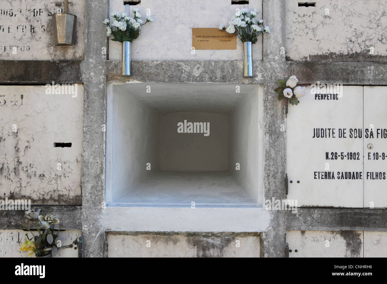 empty burial niche in wall at lisbon s main cemetery lisbon stock