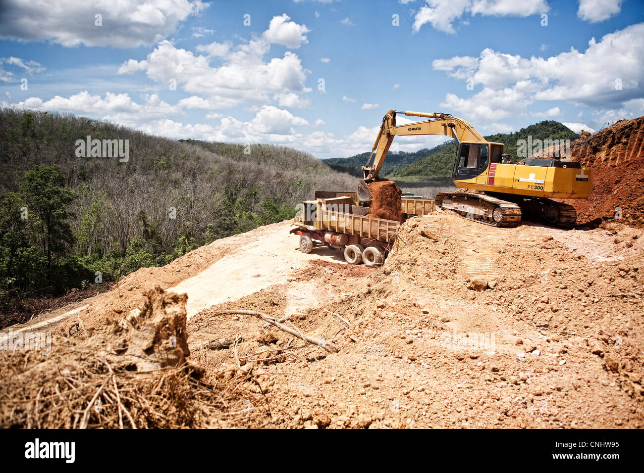Part of the construction work for the highway to the Thai border near Gubir in Malaysia, February, 2009 - Stock Image