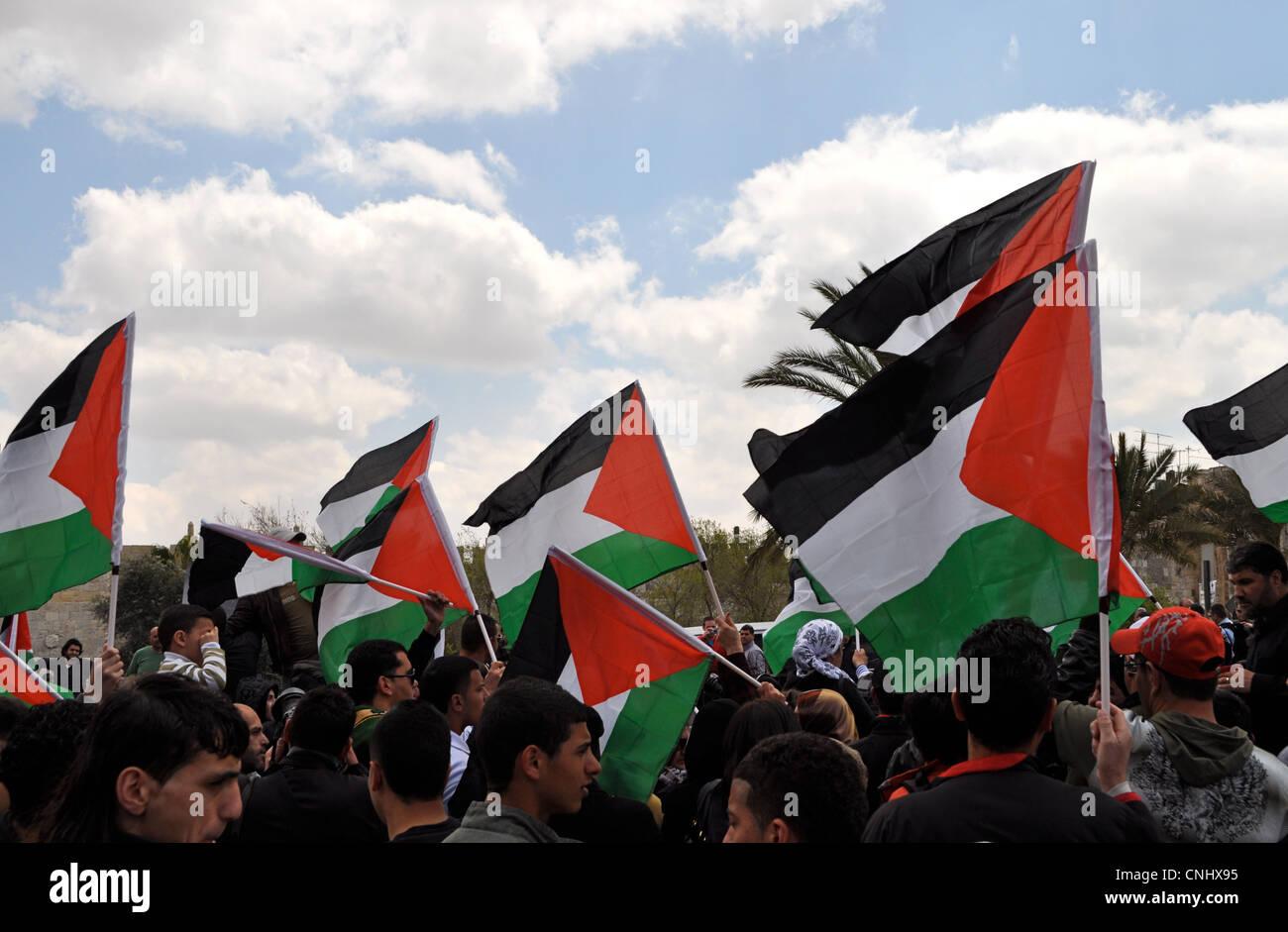 Palestinian Land Day demonstration 2012, Damascus Gate, West Bank, Jerusalem Old City turned violent. Palestinian - Stock Image