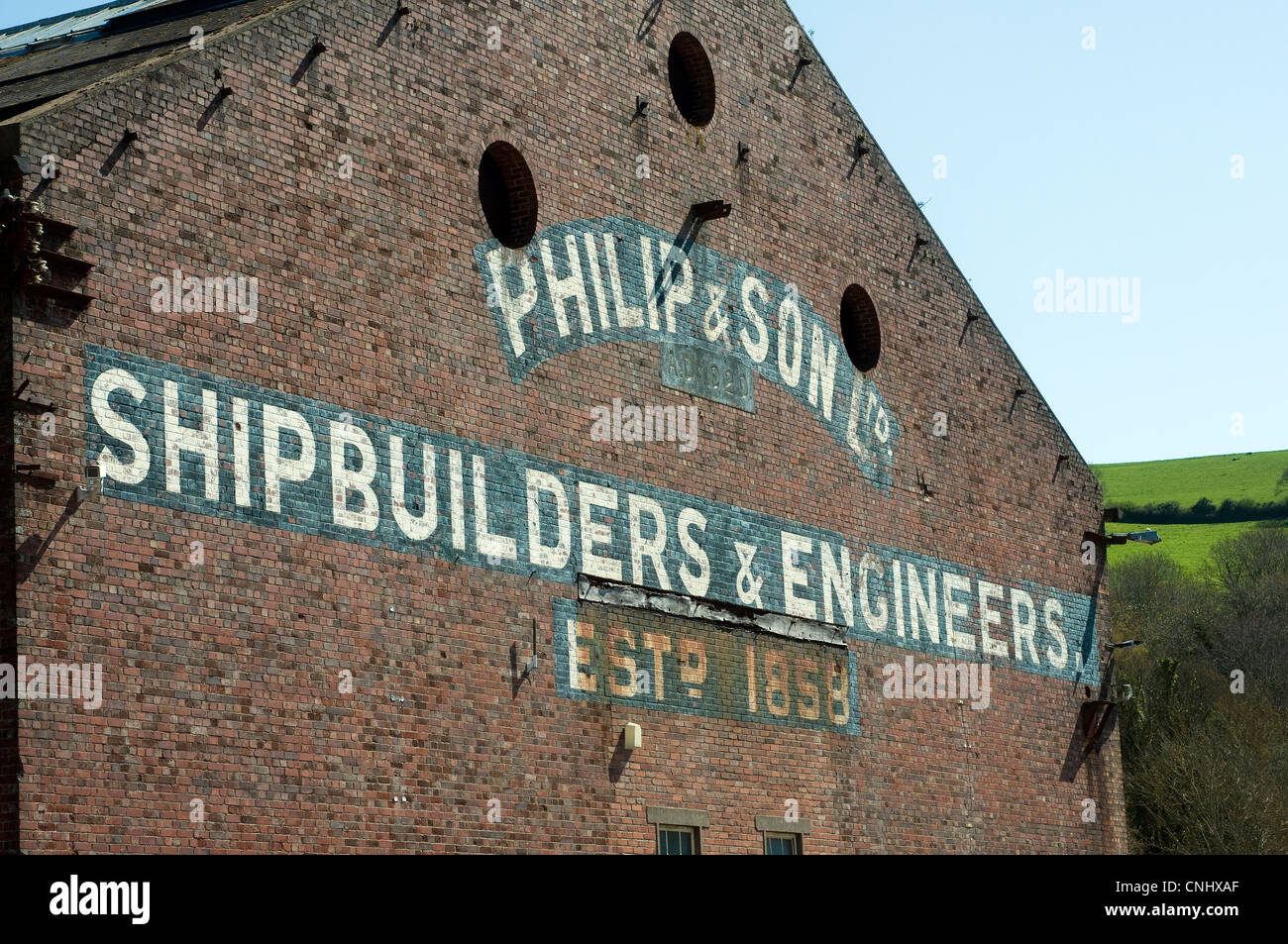 shipbuilding yard on the river dart.philip and son Ltd - Stock Image