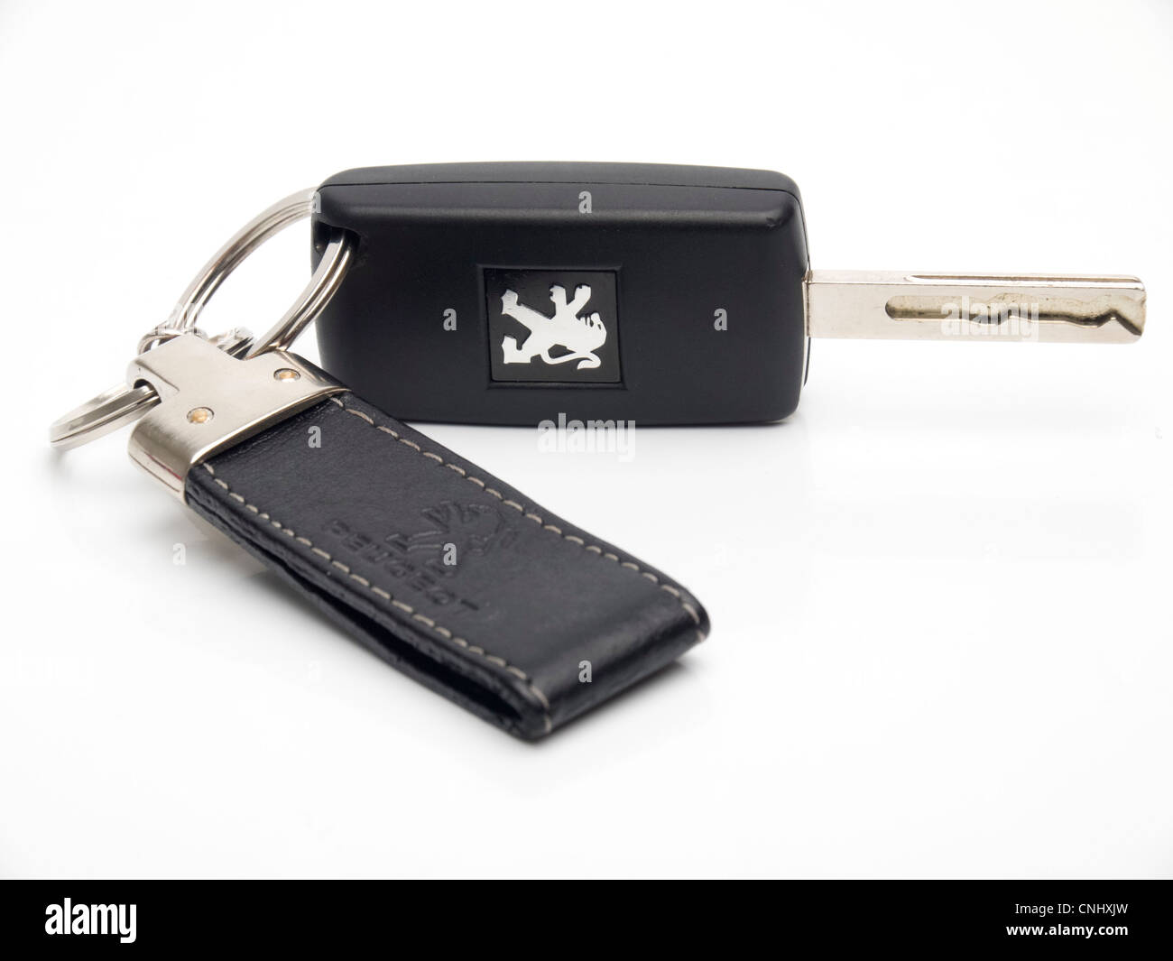 Peugeot car keys with leather keychain - Stock Image