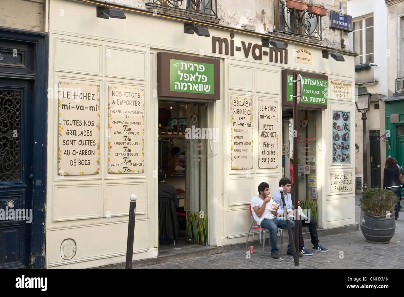 Kosher food shop, Paris - Stock Image