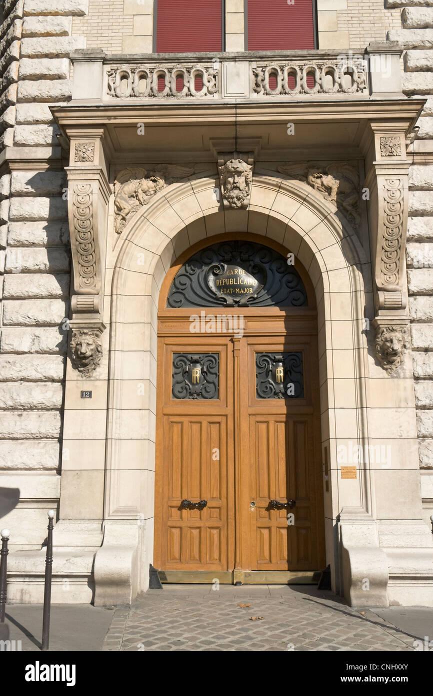 Caserne des Célestins, corner door, Paris - Stock Image