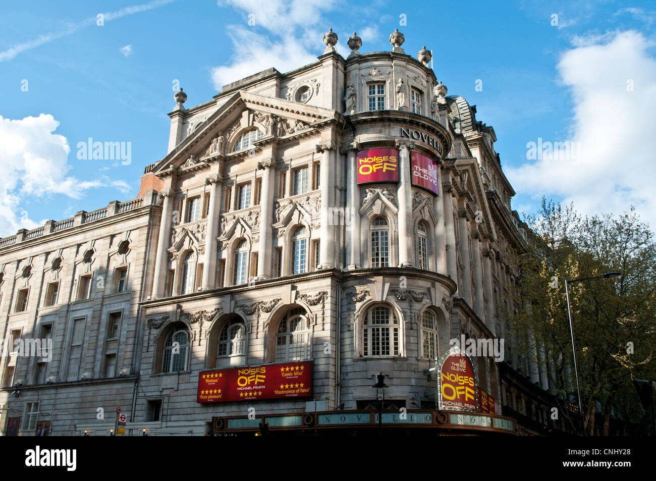 Novello Theatre with Noises Off play, West End, London, UK - Stock Image
