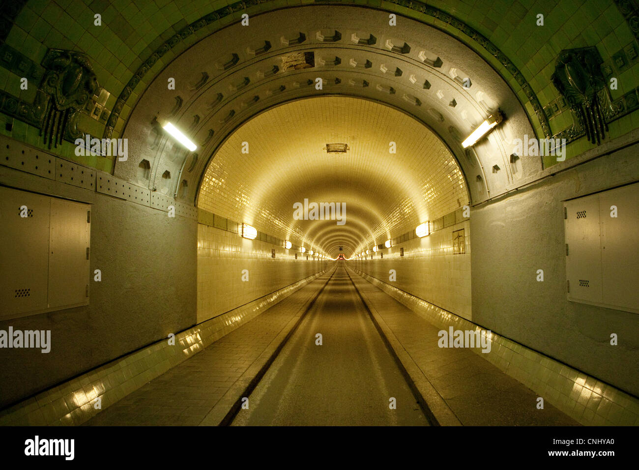Inside Old Elbe Tunnel, Hamburg, Germany - Stock Image