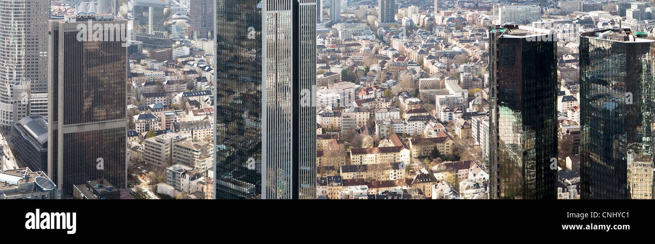 Business district viewed from Maintower, Frankfurt, Hesse, Germany Stock Photo