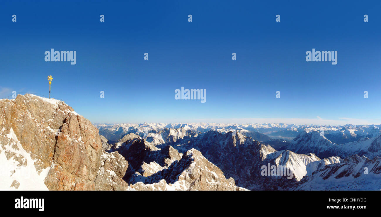 View from Mount Zugspitze in a south-easterly direction, Germany and Austria - Stock Image