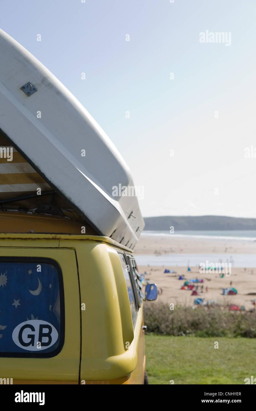 Camper van at the coast - Stock Image