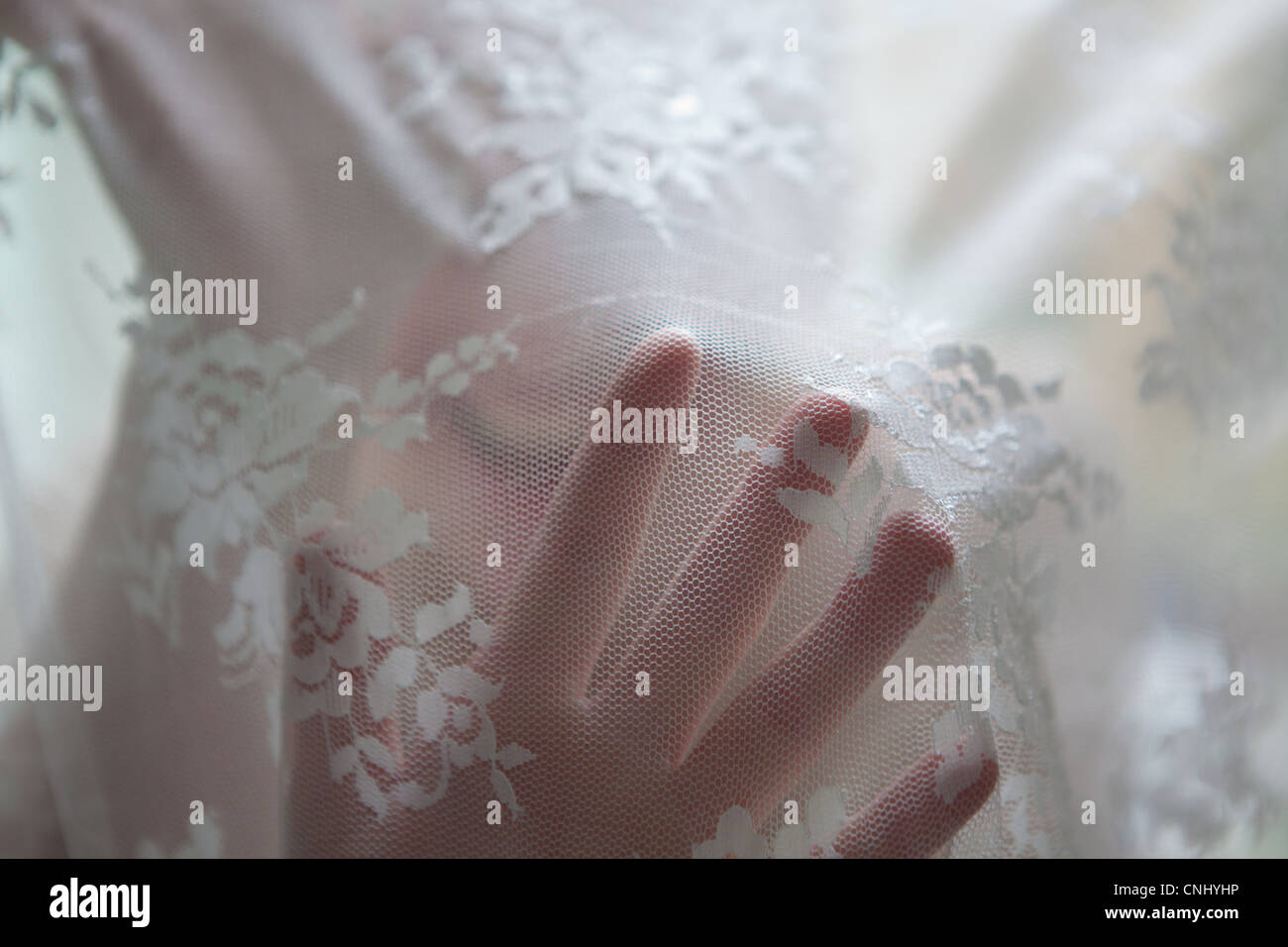 Hand of woman behind lace curtain - Stock Image