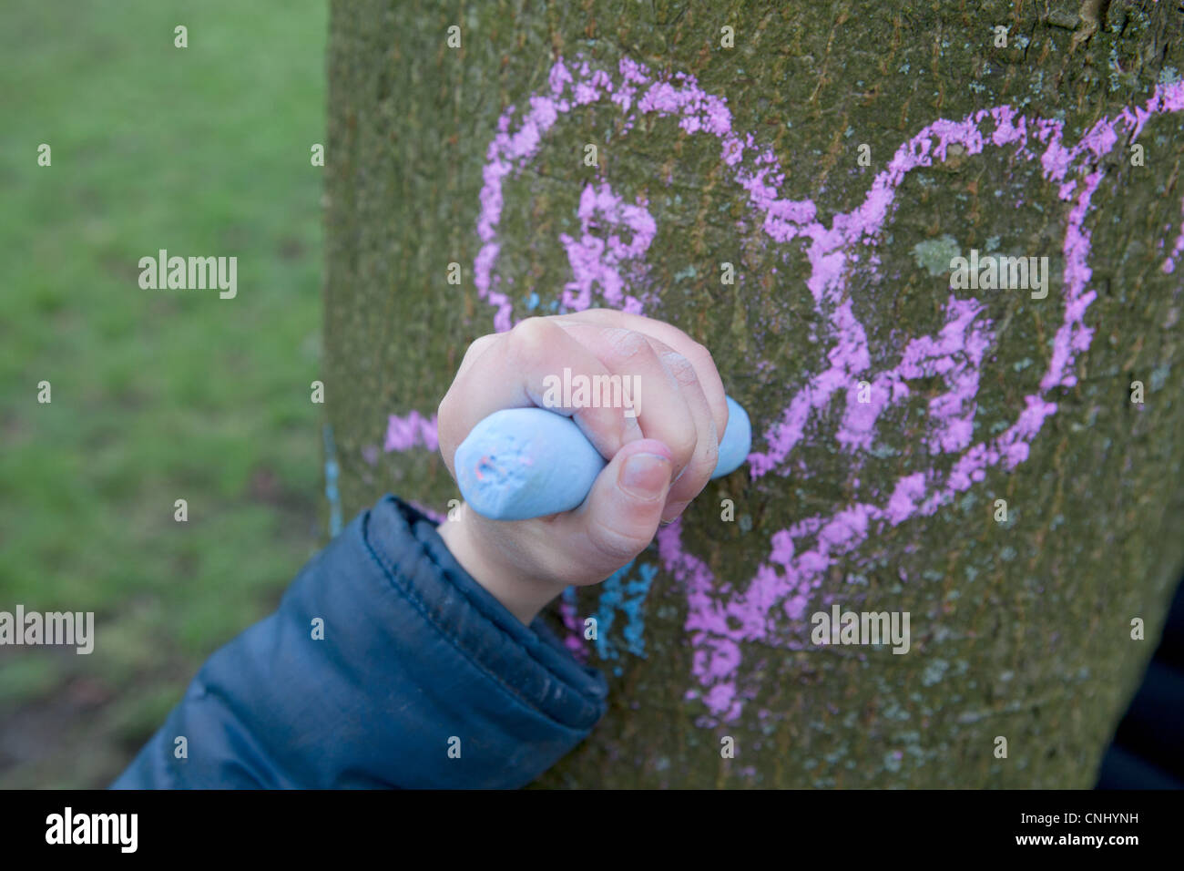 Child drawing heart on a tree trunk - Stock Image