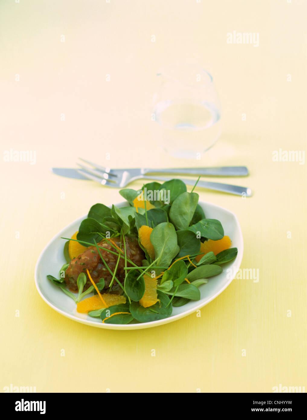 Tuna tartar with lettuce Stock Photo