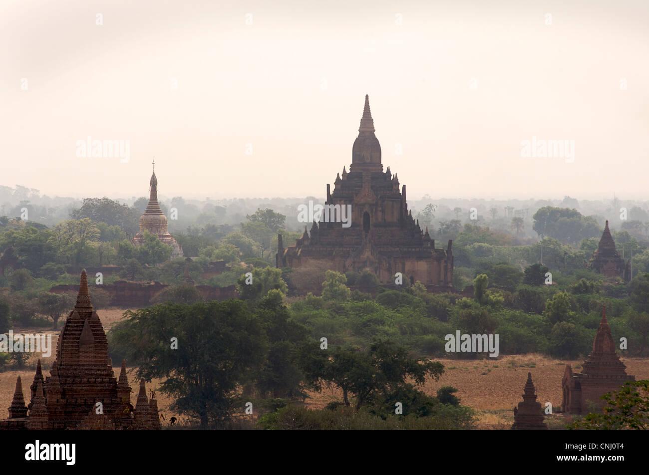 View across the Plains of Pagan from Dhammayazika paya. Burma. Bagan, Myanmar - Stock Image