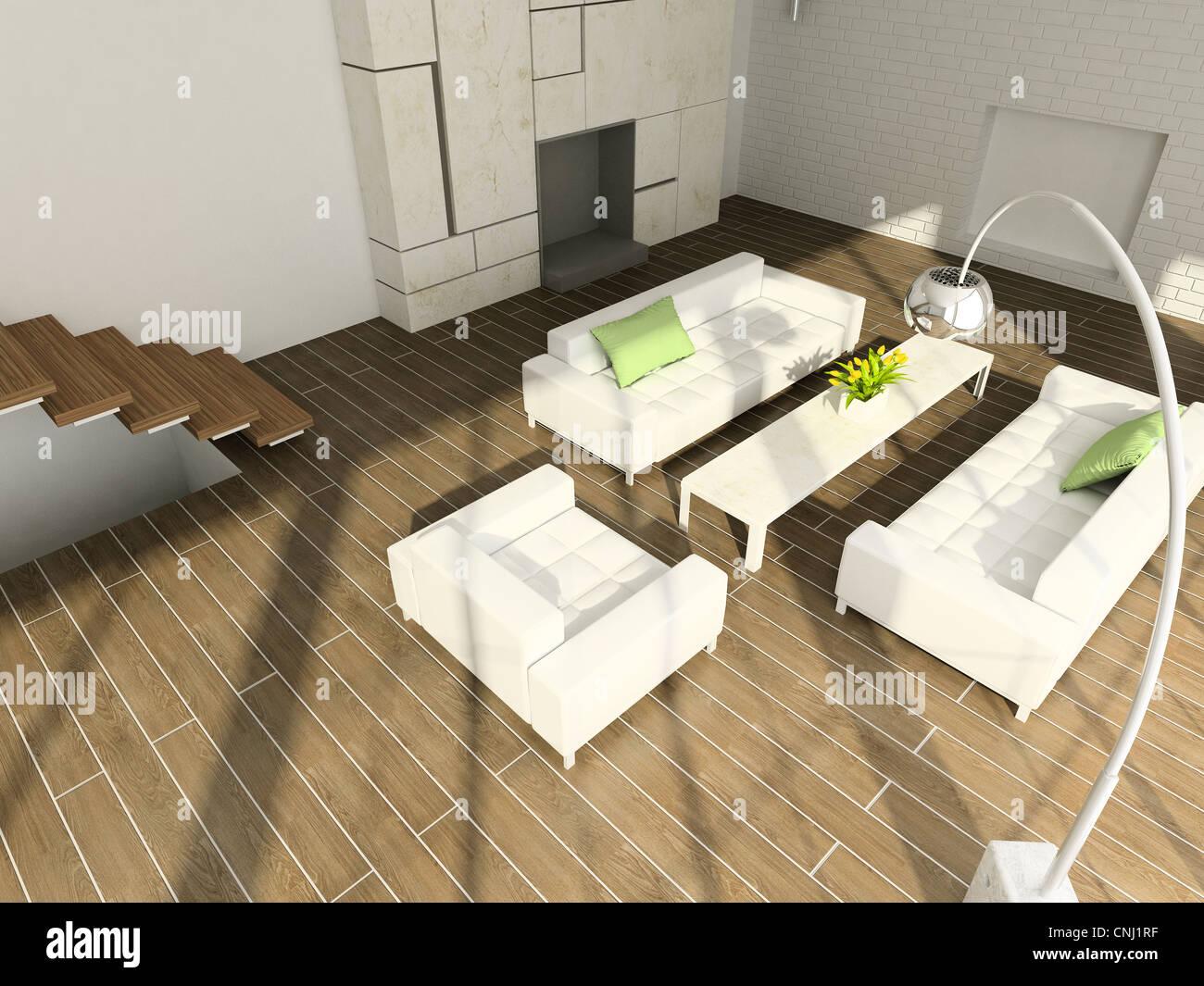 Modern design interior of living-room. 3D render Stock Photo