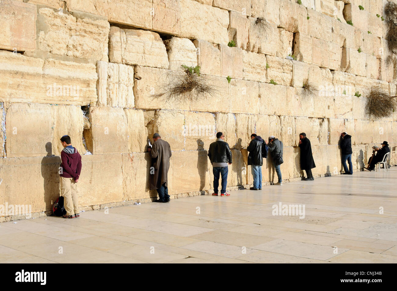 Men at the Western Wall, a Jewish Holy site in Jerusalem, Israel. - Stock Image