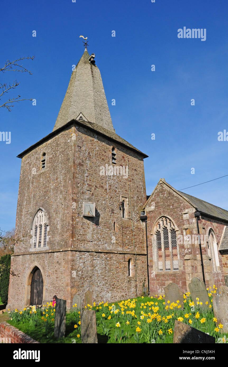 The thirteenth century tower of St Peter's Church North Tawton. Stock Photo