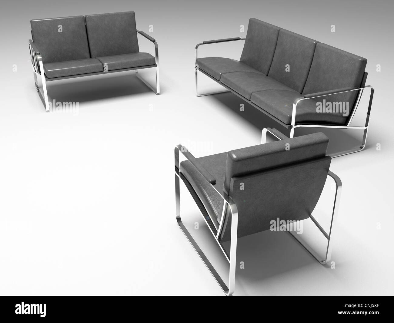3D render. Three couches isolated on white background. - Stock Image