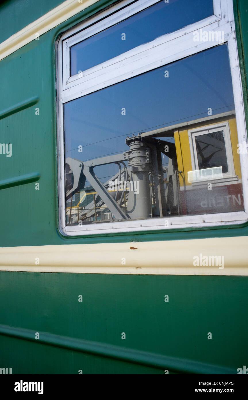 Railroad car window - Stock Image