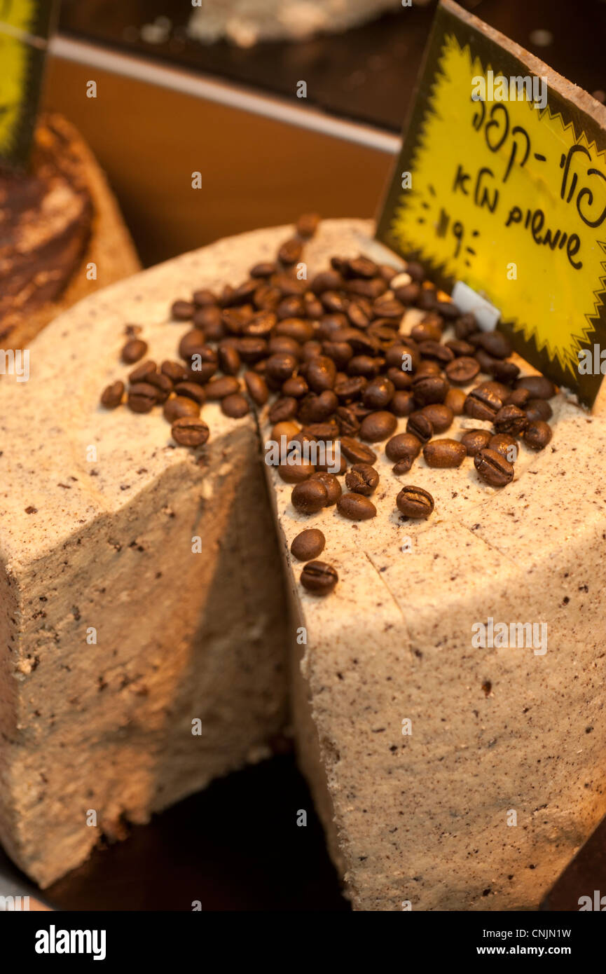 Middle East Israel Jerusalem coffee halva in the Mahane Yahuda Market - Stock Image