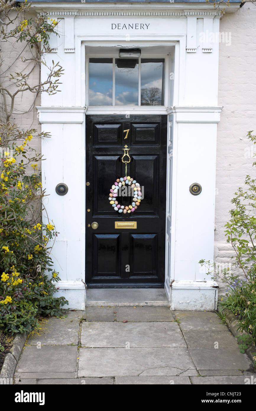 Easter Egg Wreath Hanging From Door Knocker