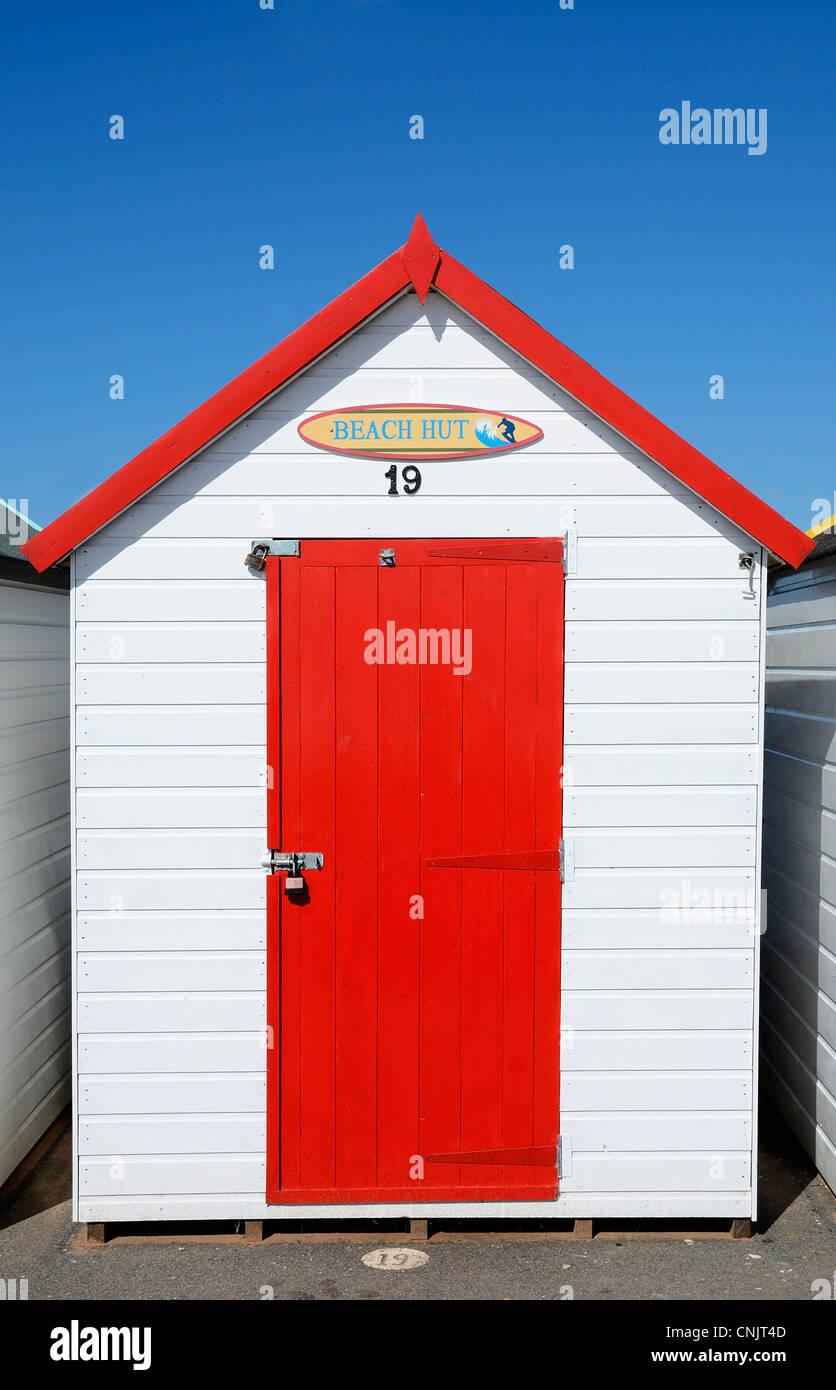 a traditional beach hut at goodrington sands near paignton in devon, uk - Stock Image