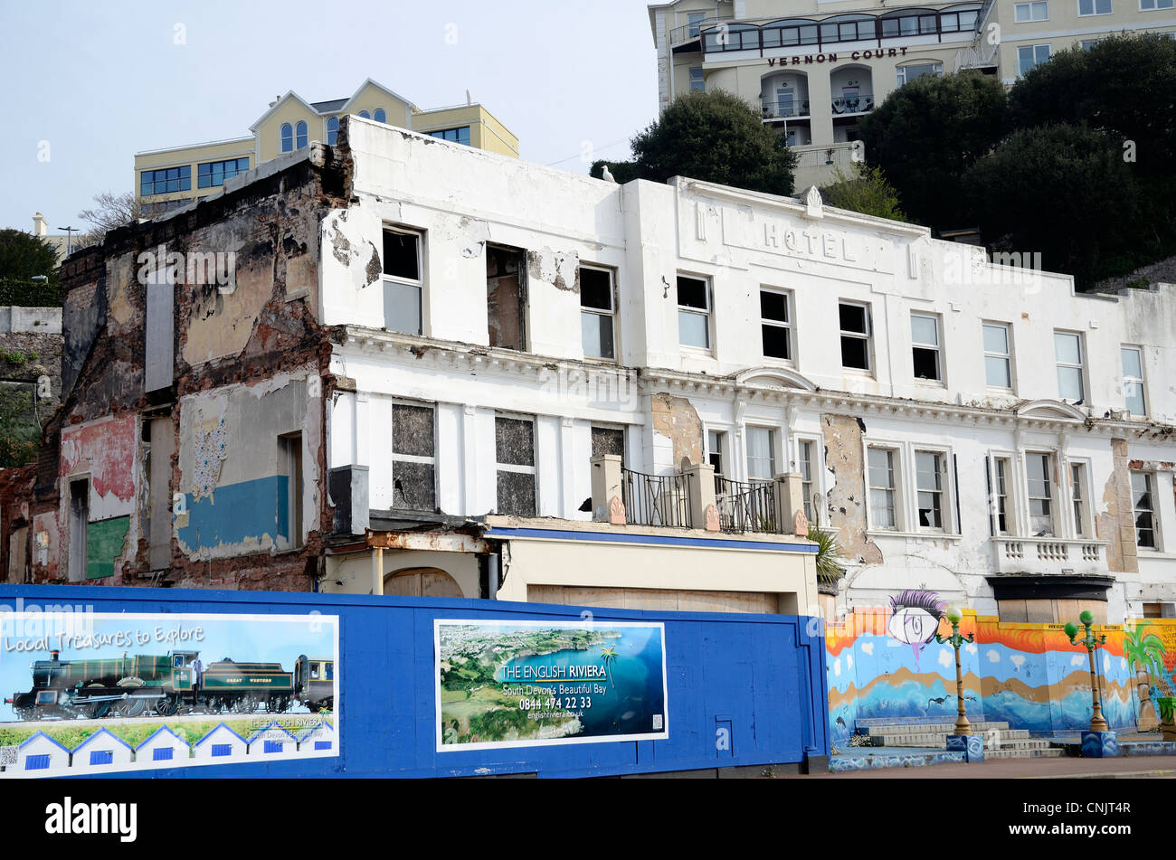 A dilapidated closed down hotel at torquay in devon, uk - Stock Image