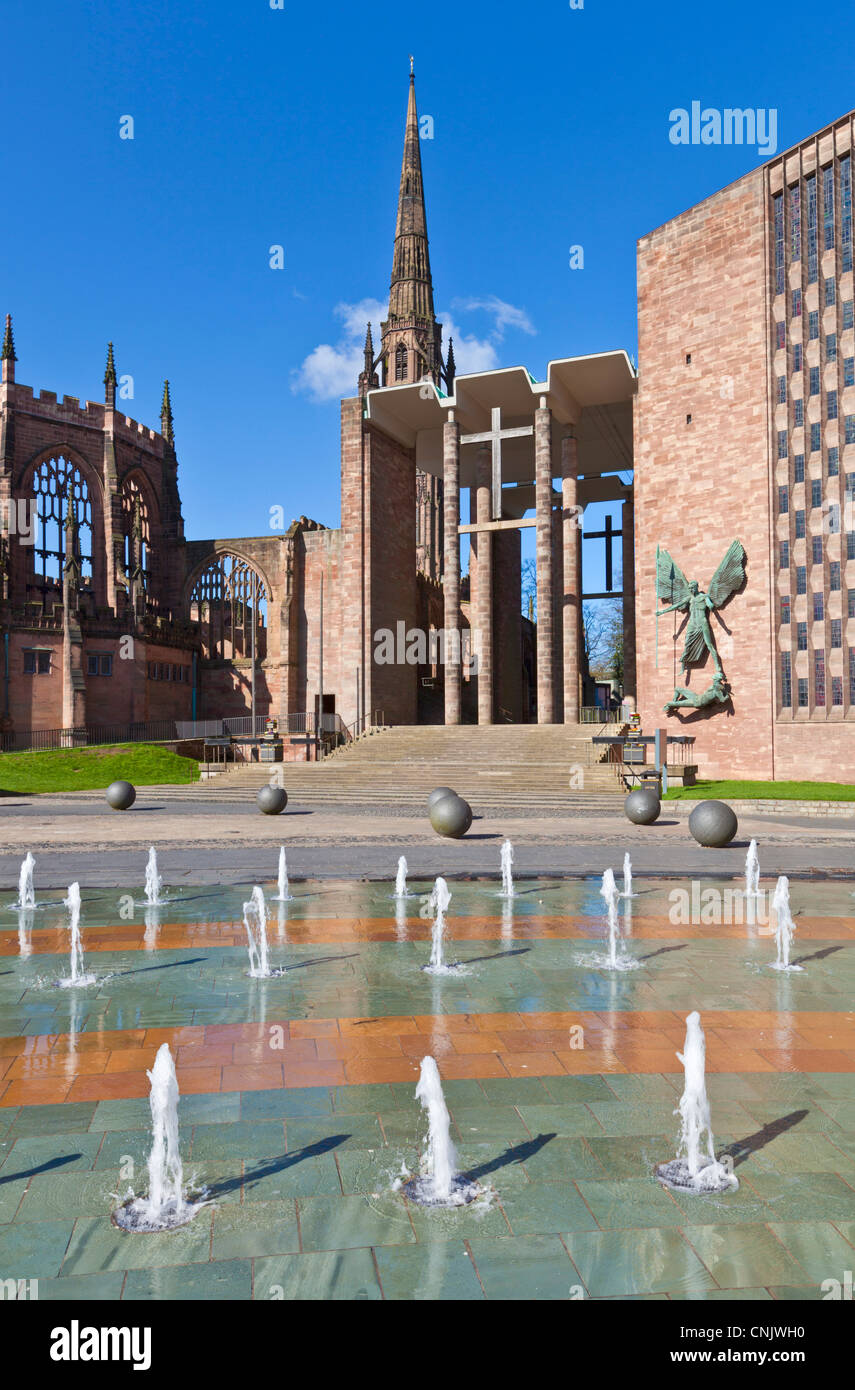 Coventry old and new cathedral west midlands England GB UK EU Europe - Stock Image