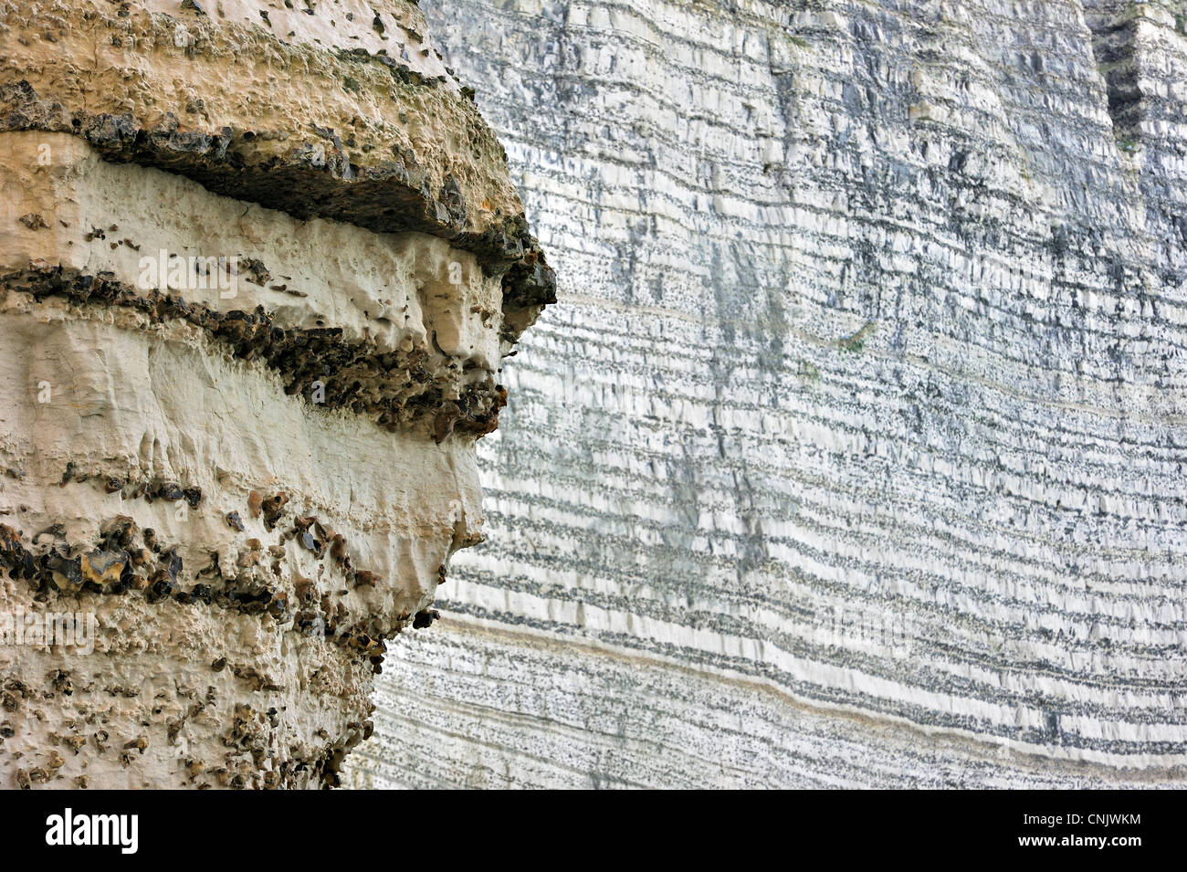 Layers of flint / chert in chalk cliff at Etretat, Upper Normandy, France - Stock Image