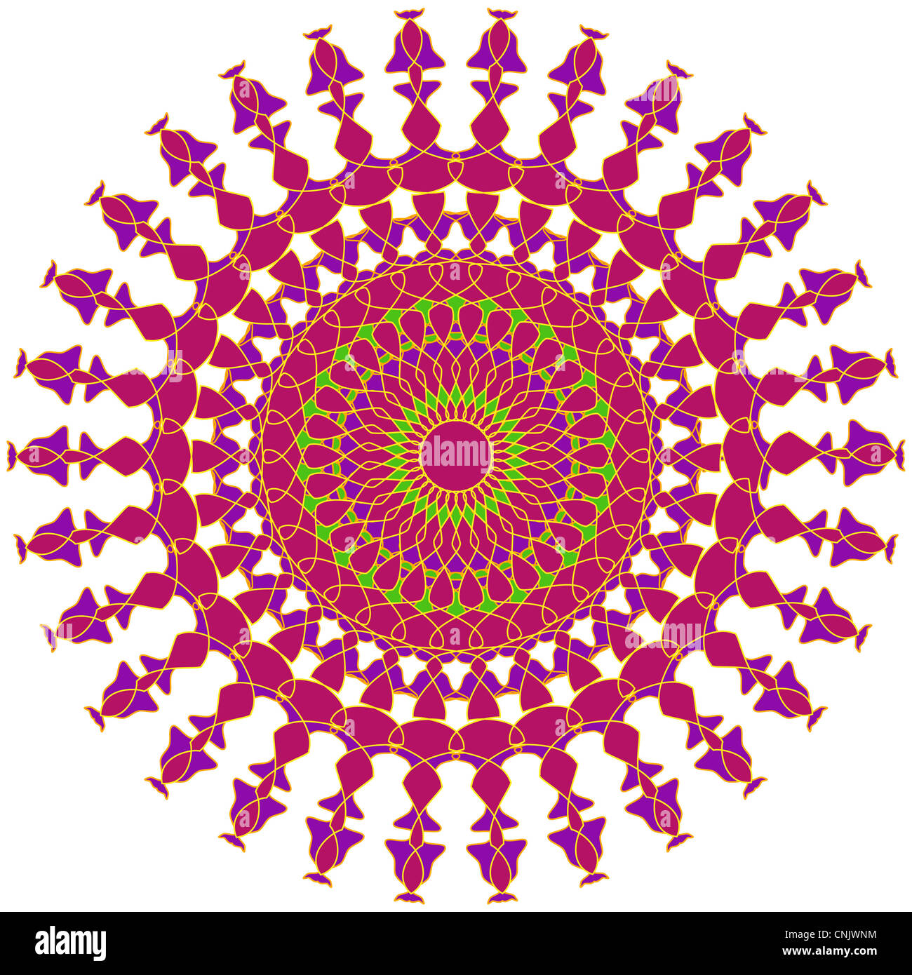 Artistic mandala design in pink and purple colors Stock Photo