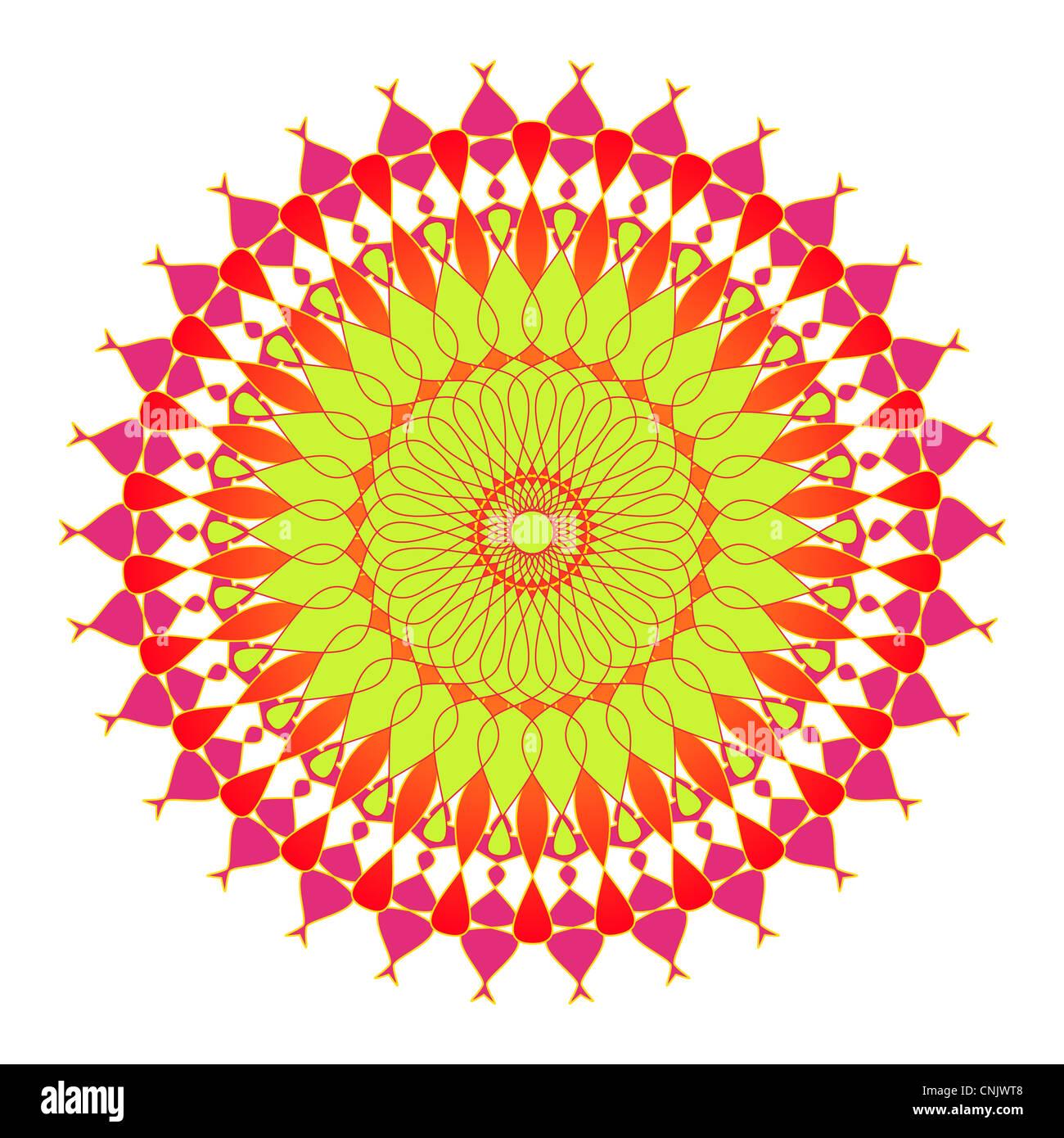 Artistic mandala design in green, pink and orange colors Stock Photo