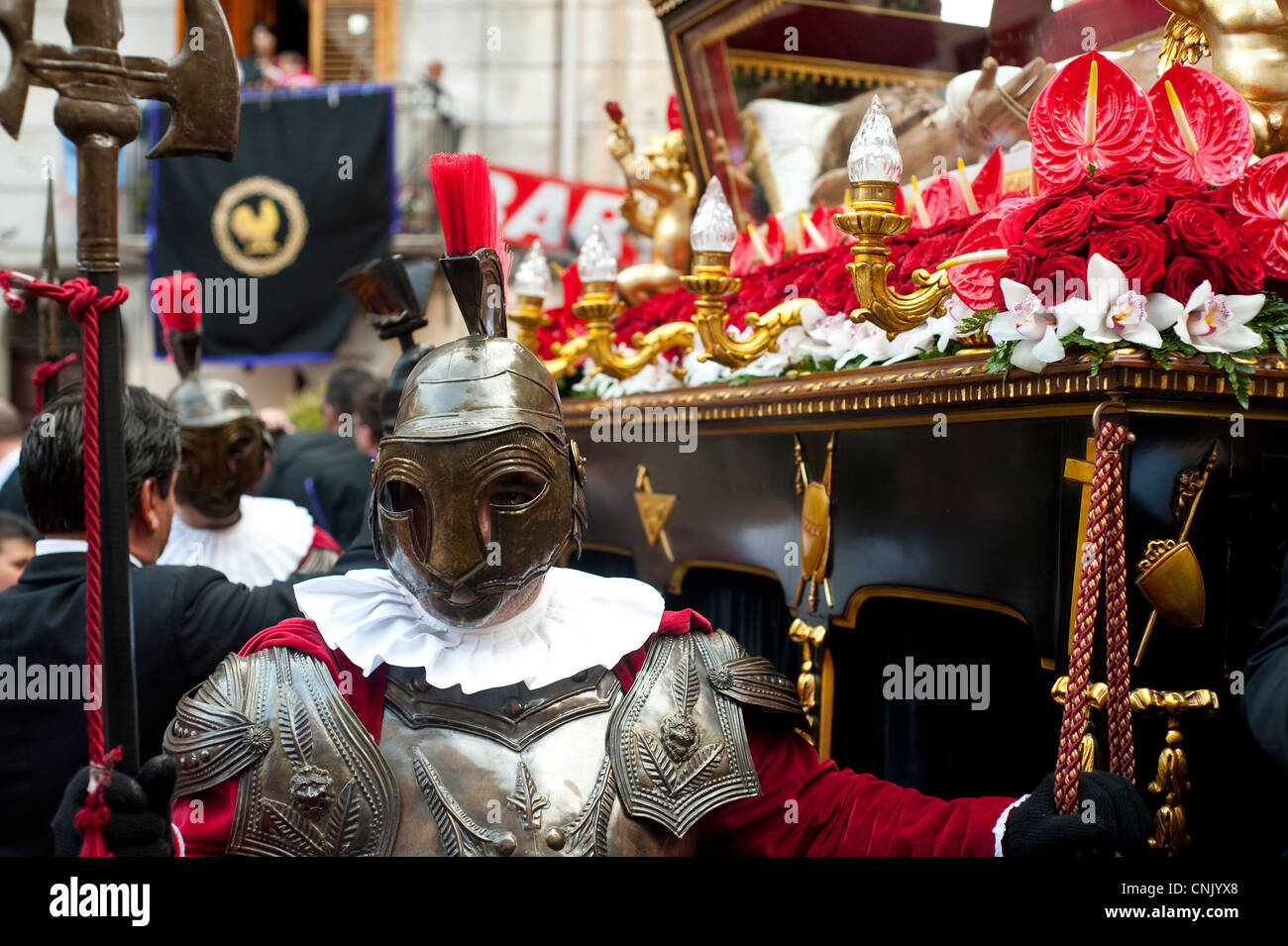 Palermo, Sicily, Italy -  Man dressed as Roman soldier during Holy Friday Easter celebrations - Stock Image