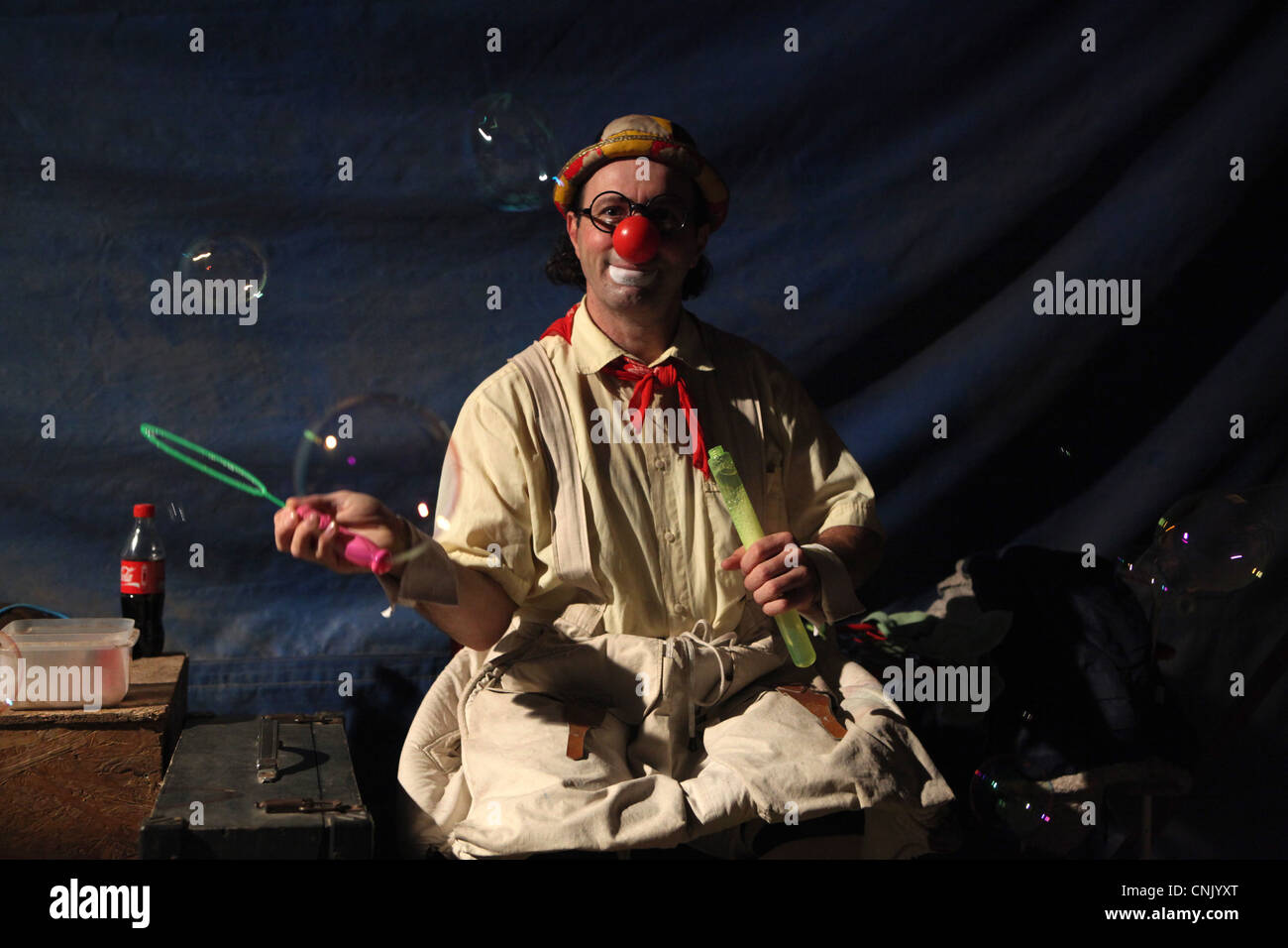 Clown Mr. George in the backstage of Humberto Circus in Prague, Czech Republic. Stock Photo