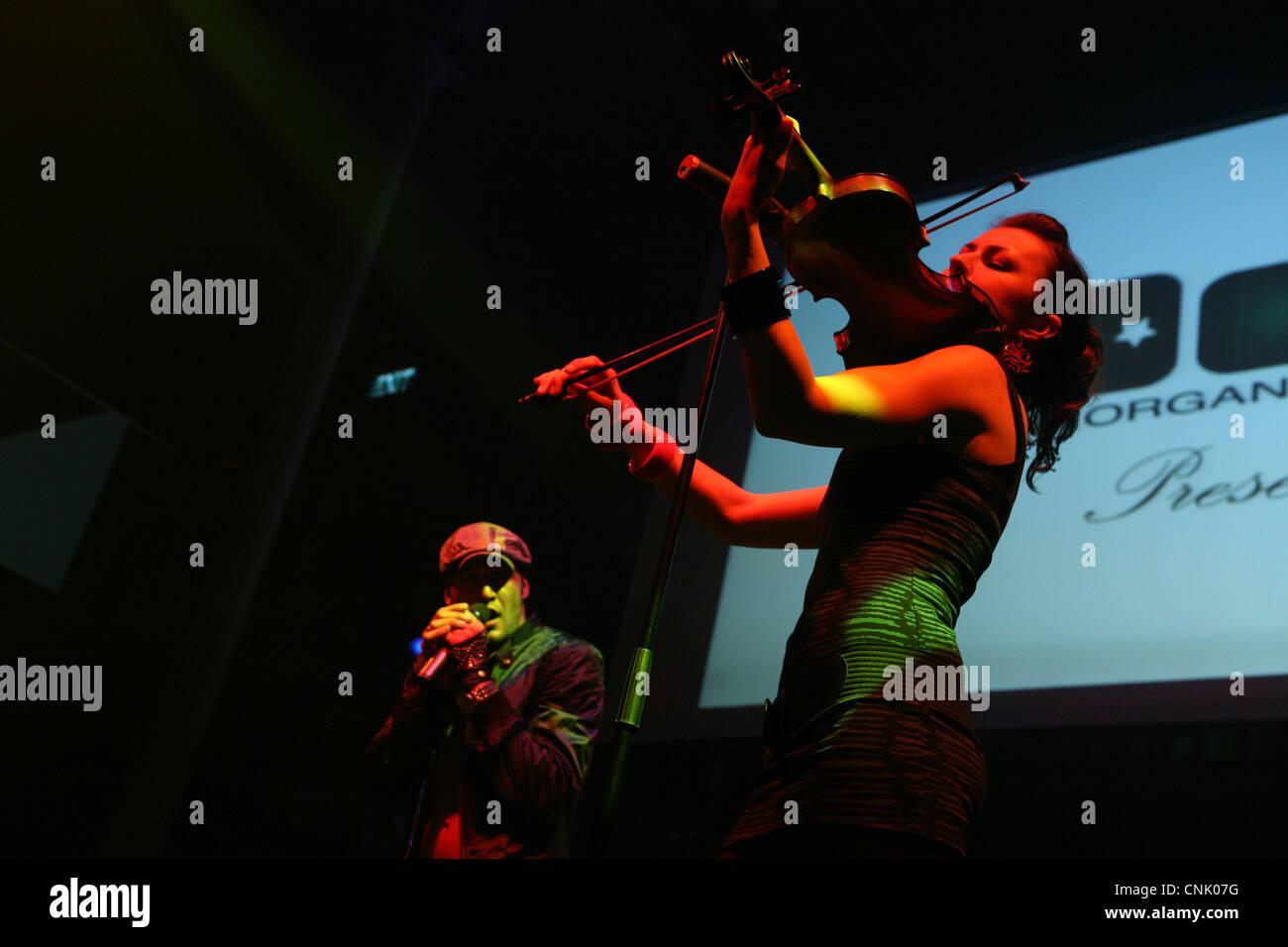 Concert of Czech pop singer Samer Issa in Sasazu Club in Prague, Czech Republic. Stock Photo