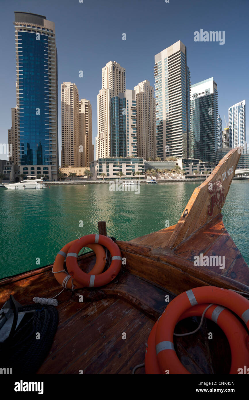 "The skyscrapers of the ""Dubai Marina"" area, seen from a traditional dhow (Dubai - the United Arab Emirates). Stock Photo"